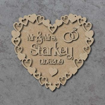 Mr & Mrs Heart Frame Wedding Plaque