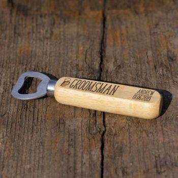 Groomsman Personalised Wooden Bottle Opener