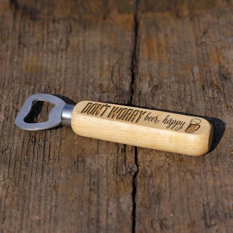Don't Worry, Beer Happy Wooden Bottle Opener