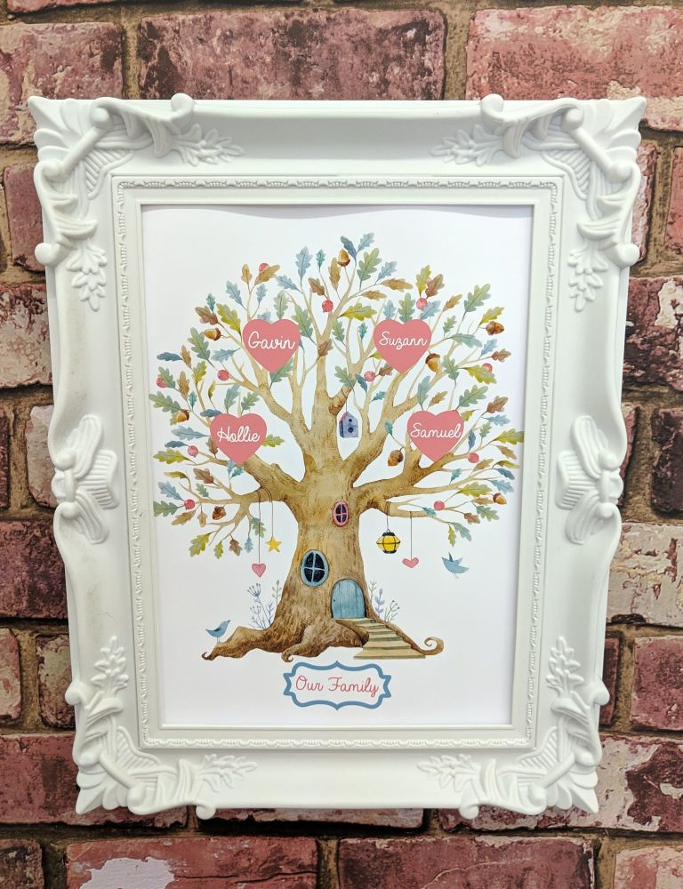 Printed family tree illustration