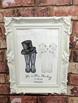 Personalised wedding welly art print (frame not included)