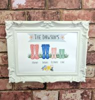 Personalised family welly art print (frame not included)