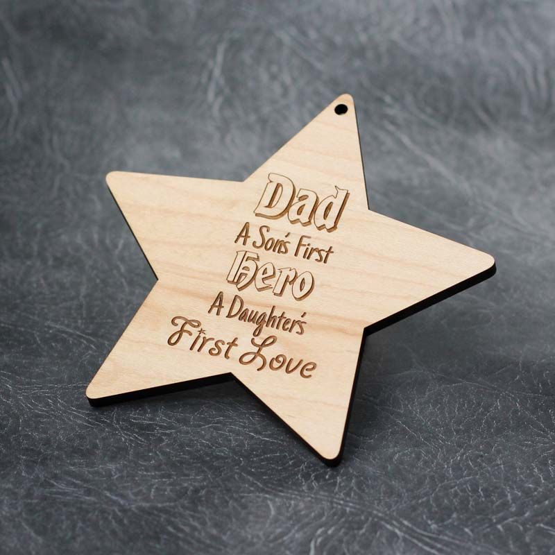 Dad - Son's First Hero Daughter's First Love - Maple Wood Plaque