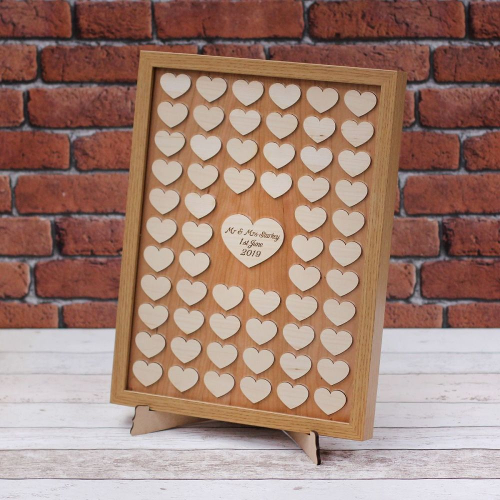 Personalised Wedding Guest Book Frame with Hearts