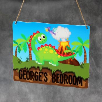 Personalised Printed Dinosaur with Volcano Bedroom Plaques