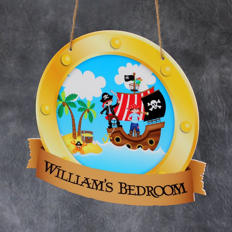 Personalised Printed Pirate Porthole Bedroom Plaques