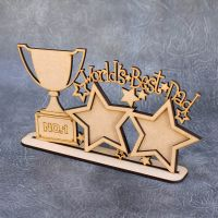 Freestanding Worlds Best Dad with Trophy Frame Sign