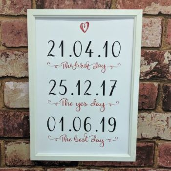 Personalised dates art print - first day, yes day, best day