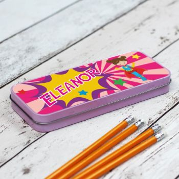 Superhero Personalised Pencil Case - Pink