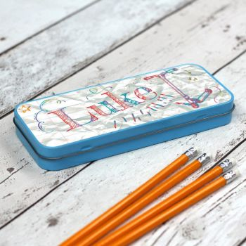 Doodles and Scribbles Personalised Pencil Case - Blue