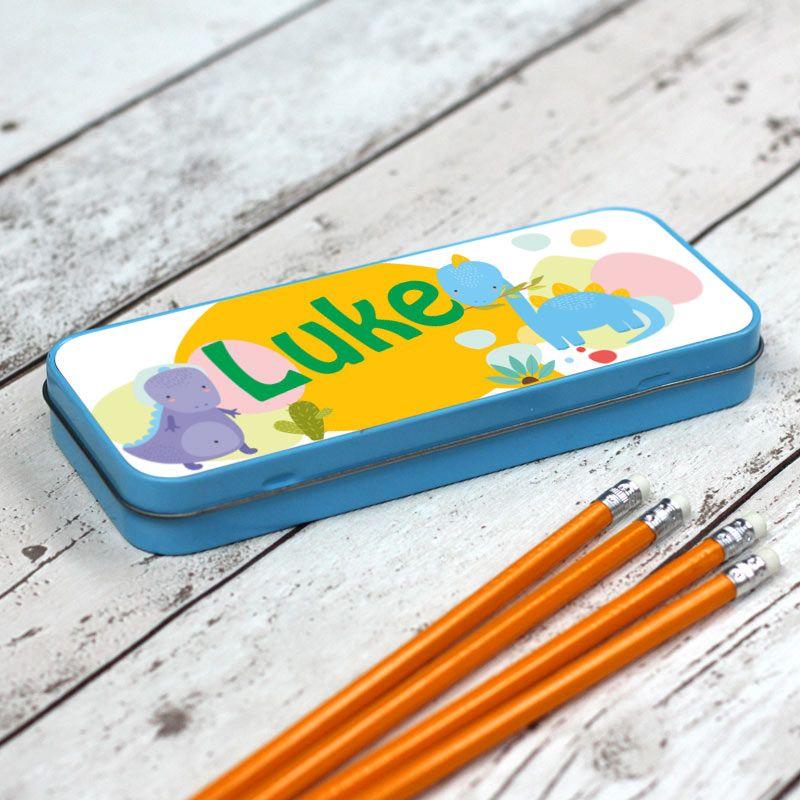 Dinosaur Personalised Pencil Case - Blue