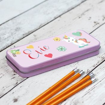 Unicorn Personalised Pencil Case - Pink