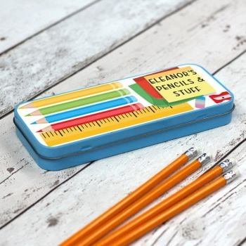 Pencils and Stuff Personalised Pencil Case - Blue