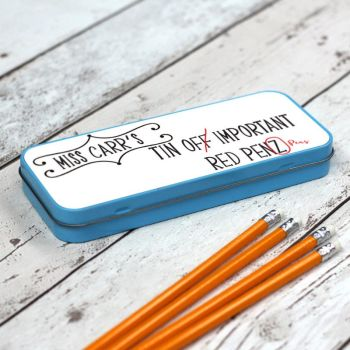 Teachers Red Pens Personalised Pencil Case - Blue