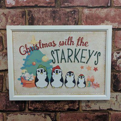 Personalised Christmas penguin art print