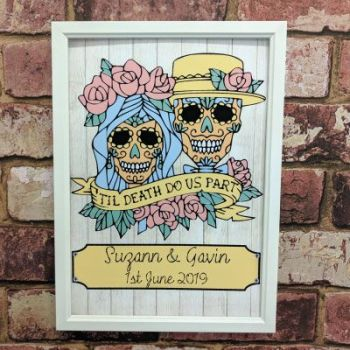 "Skull ""til death do us part"" wedding art print"