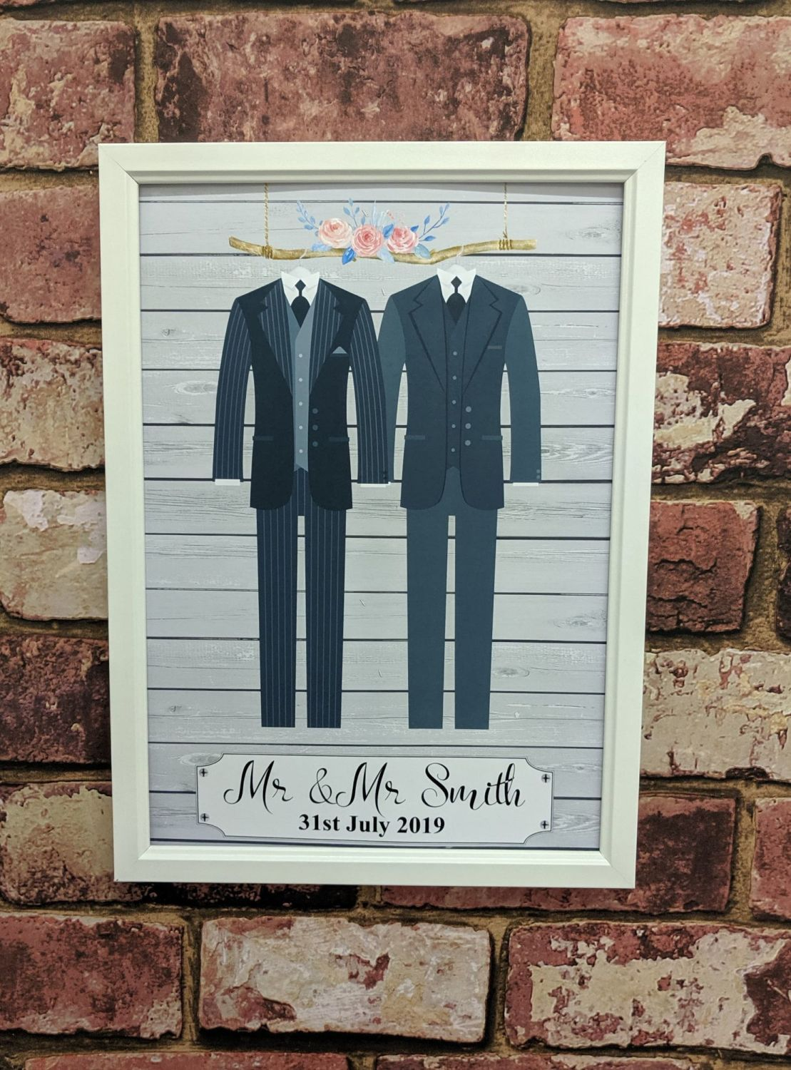 Personalised wedding outfit Mr & Mr art print - grey (frame not included)