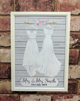 Personalised wedding outfit Mrs & Mrs art print - grey (frame not included)