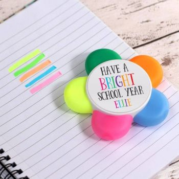 """Have a bright school year"" Personalised Highlighter Flower Pen"