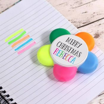 """Merry Christmas"" Personalised Highlighter Flower Pen"