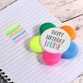 """Happy Birthday"" Personalised Highlighter Flower Pen"