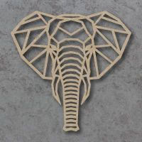 Geometric Elephant Head Detailed Craft Shapes