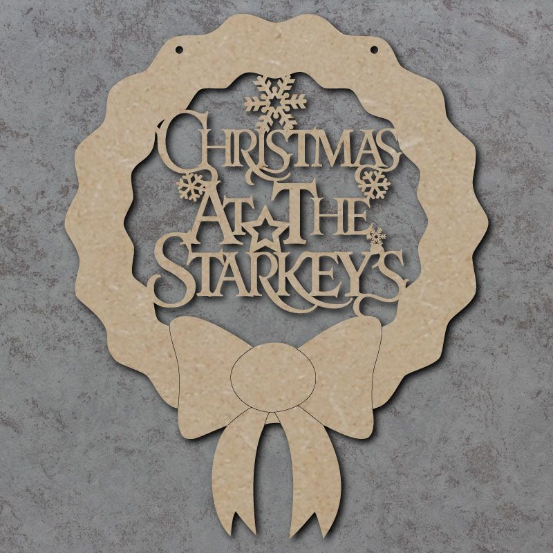 Personalised Christmas at the Surname Wreath