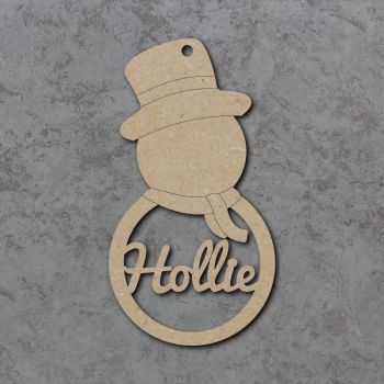 Snowman Personalised Detailed Name Baubles