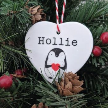 Personalised Cute Penguin Ceramic Printed Bauble