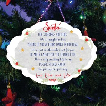 Personalised Printed Santa Stop Here Plaques