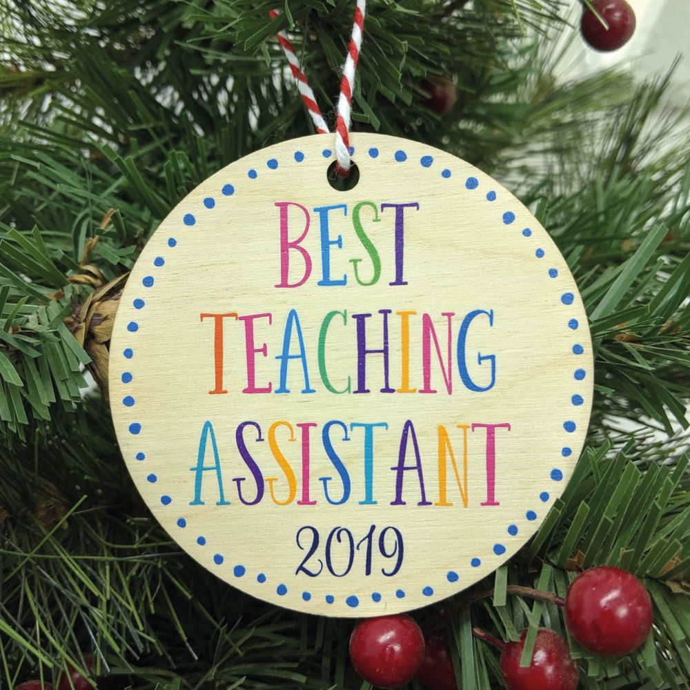 Best Teaching Assistant Printed Bauble, Gift Tag