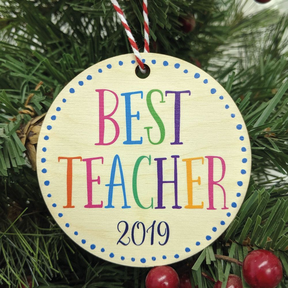 Best Teacher Printed Bauble, Gift Tag