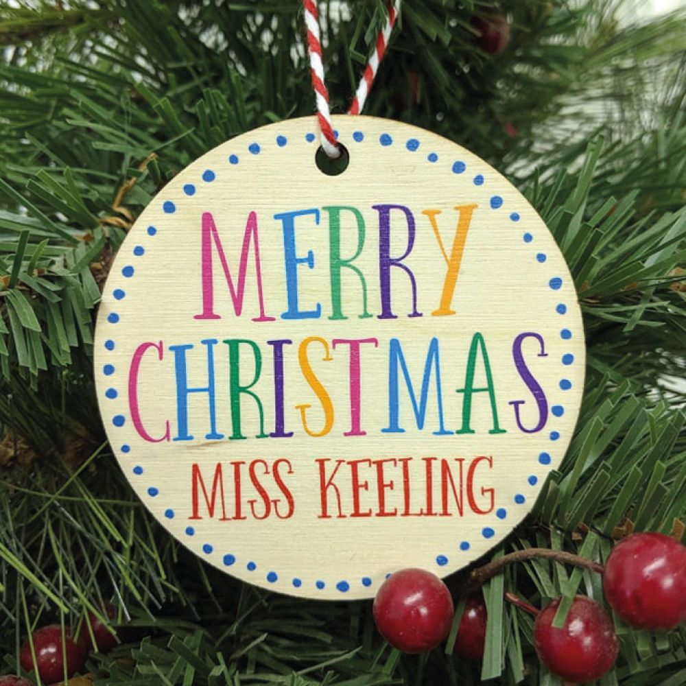 Personalised Printed Merry Christmas Bauble, gift tag