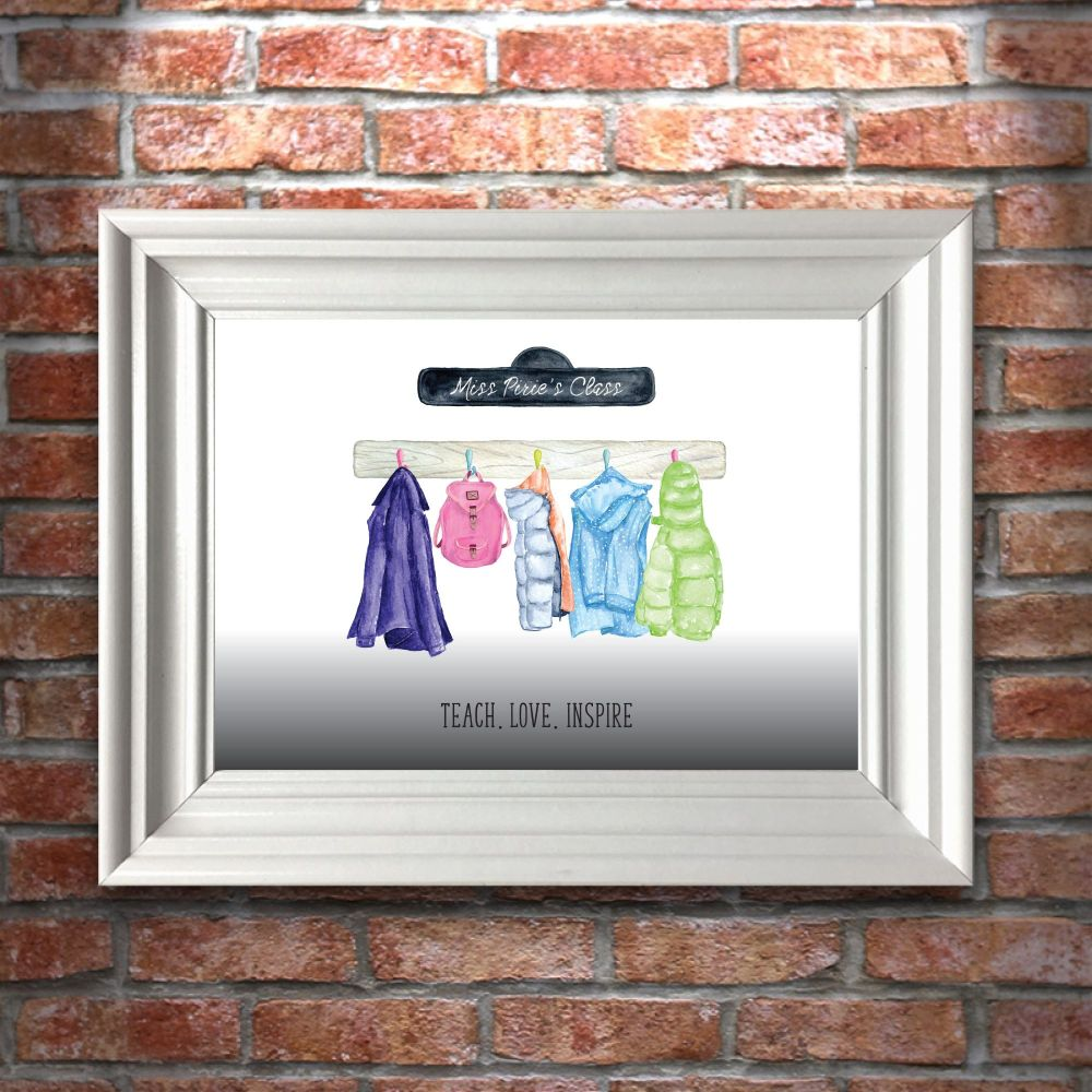 Personalised Teacher Class Hanging Decorations A4 Art Print (frame not incl
