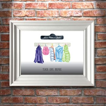 Personalised Teacher Class Hanging Decorations A4 Art Print (frame not included