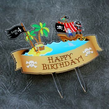 Pirates Happy Birthday Printed Cake Topper