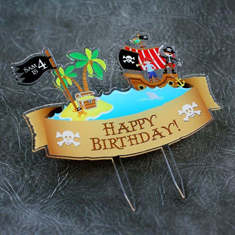 Pirates Happy Birthday Printed Cake Topper
