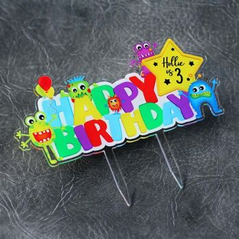 Monster Happy Birthday Printed Cake Topper