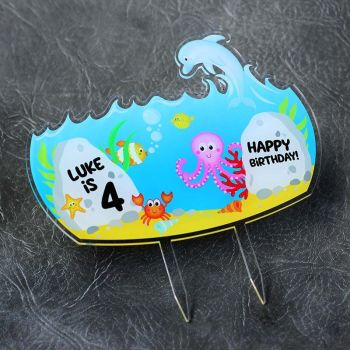 Under The Sea Happy Birthday Printed Cake Topper