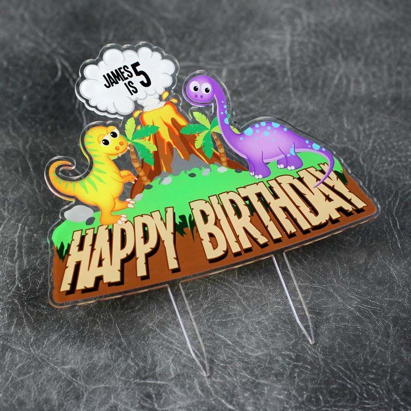 Dinosaur Happy Birthday Printed Cake Topper