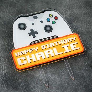 Xbox Gamer Happy Birthday Printed Cake Topper