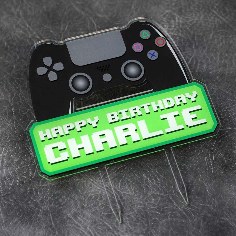 Playstation Gamer Happy Birthday Printed Cake Topper