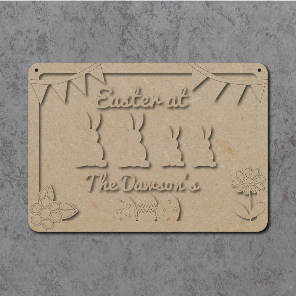 Personalised Easter at the Family Bunny Plaque