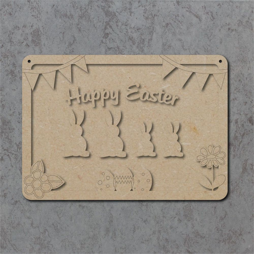 Happy Easter Family Bunny Plaque