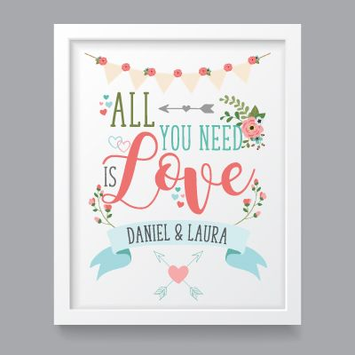 All you need is Love personalised  A4 art print