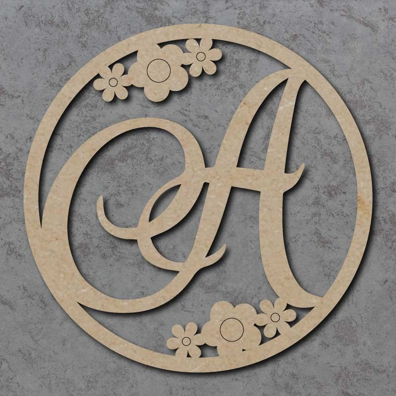 Monogram Initial Circles with Flowers