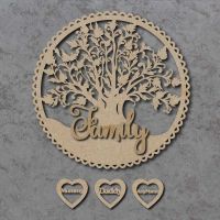 Family Tree Circle Plaque with Personalised Hearts