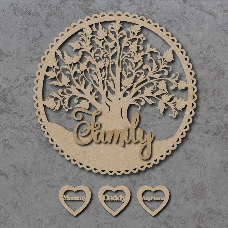 Family Tree Circle Plaque with Hearts