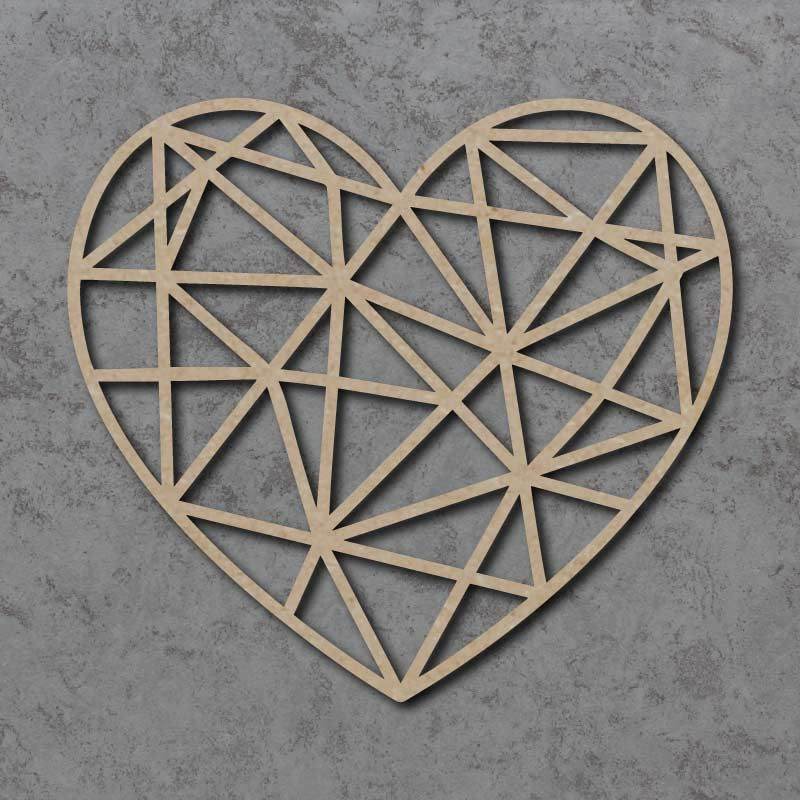 Geometric Heart Detailed Craft Shapes