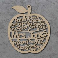 Personalised Teacher Words Apple Craft Shape
